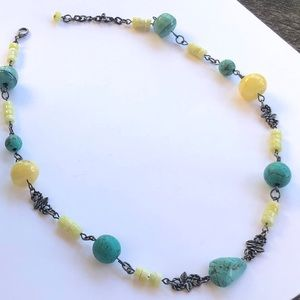 Turquoise, and Yellow Jasper Necklace Handmade